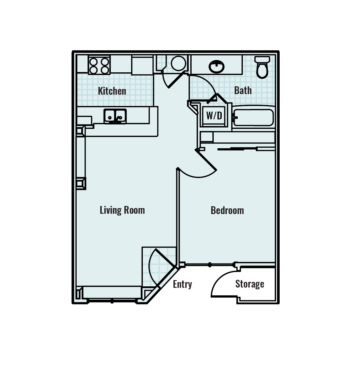 -Agate 1  BED/1 BATH 650Sq.ft.
