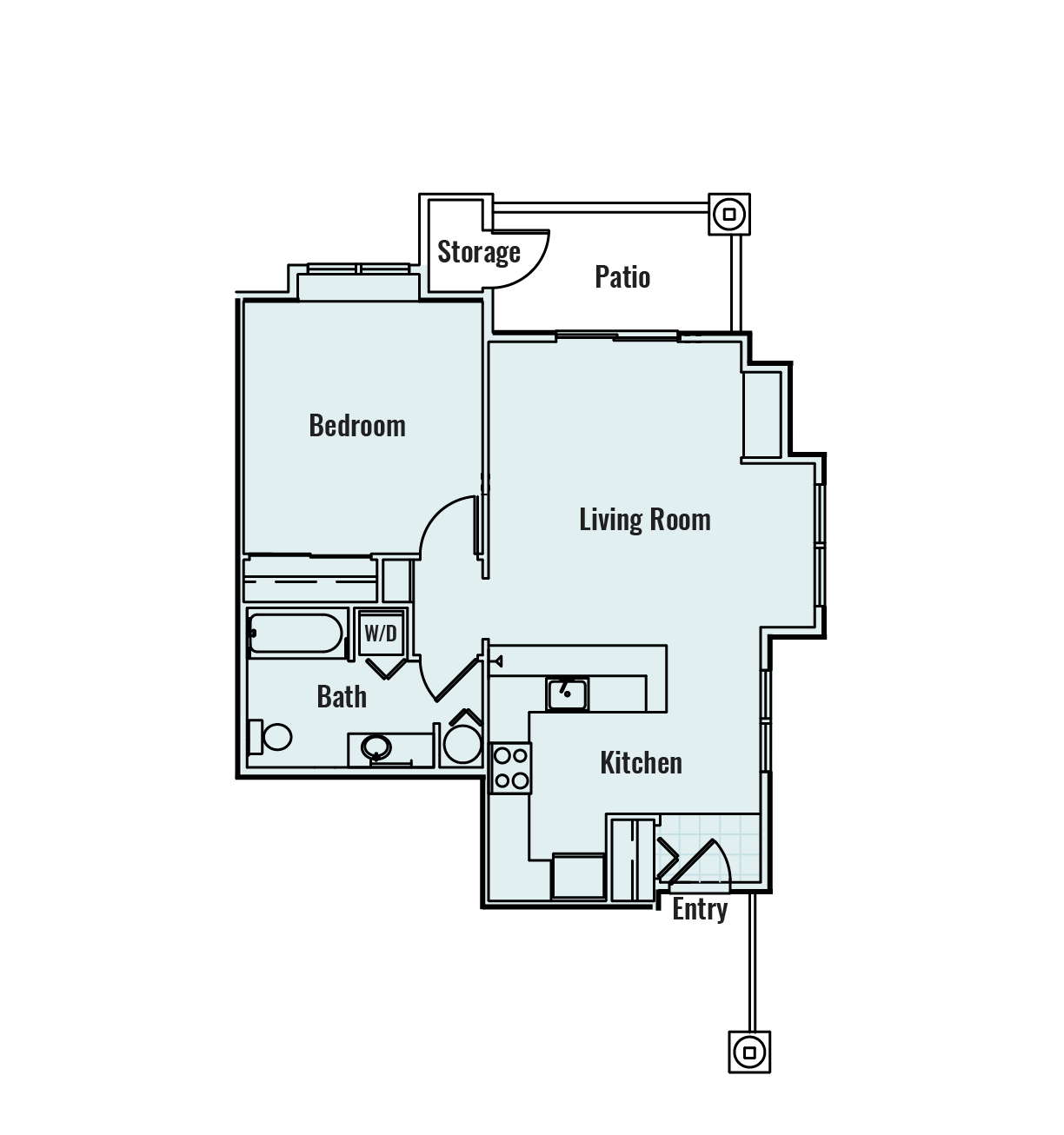-Santiam 1  BED/1 BATH 709Sq.ft.