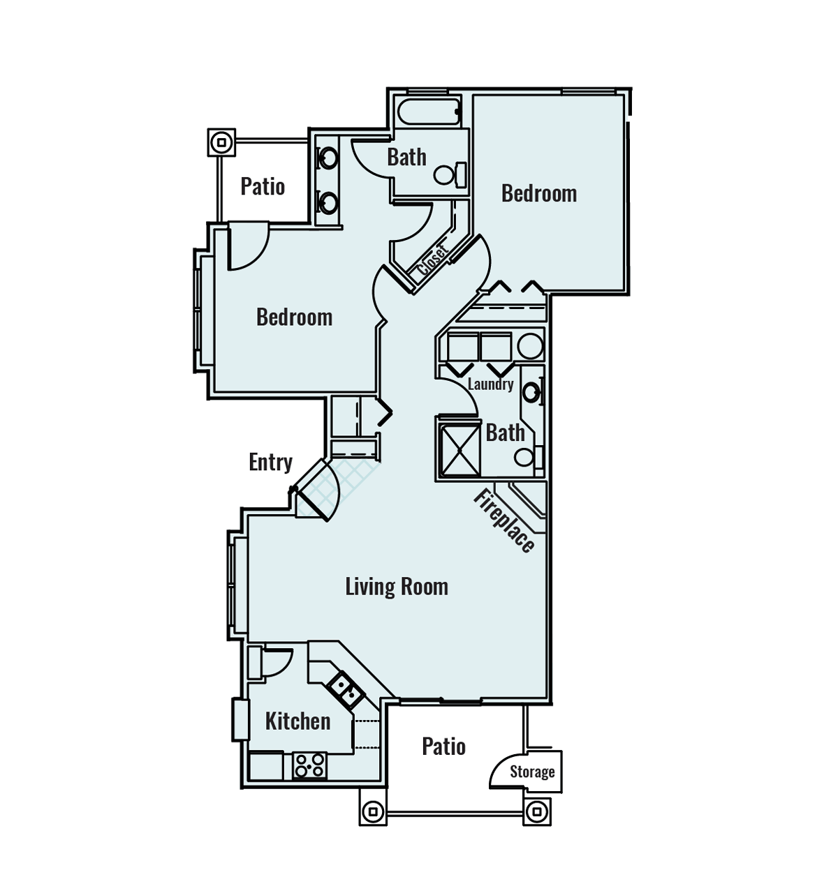 -Whitewater 2  BED/2 BATH 1095Sq.ft.